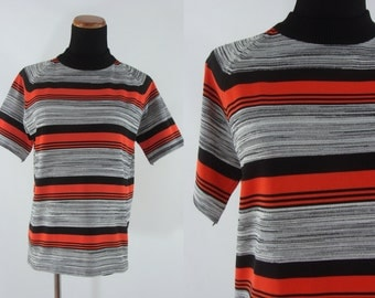 SALE Vintage Seventies Blouse - 1970s Striped Top - 70s Short Sleeved Orange and Grey Shirt - Large Vintage Shirt