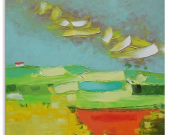 Red Field  -  light green valley relax grass wall decor home village hanging art field canvas original painting landscape impasto oil