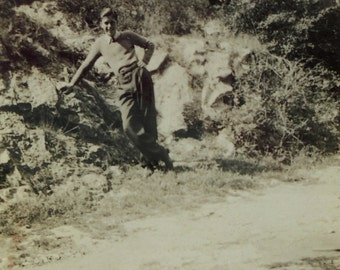 Vintage Photograph - Young Man in the Countryside