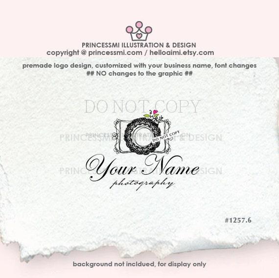 1257-6 Photography logo, premade logo, camera logo,  sketch camera art,  photographer logo lace lens by princessmi