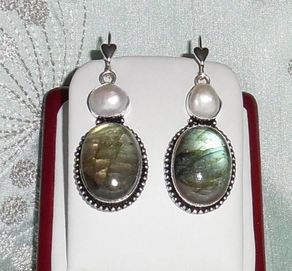 Labradorite stones, Biwa Pearl, solid sterling silver heart leverback Pierced Earrings
