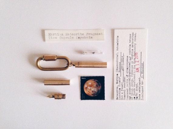 Martian Meteorite Fragment Time Capsule Men's Keychain