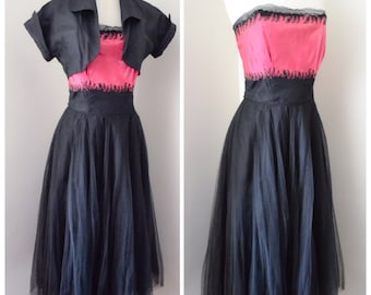 1940s Hot pink taffeta & silk tulle evening dress / 40s raffia embroidered strapless gown - S XS