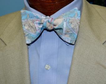 Charleston Harbor Map Men's Bow Tie or Necktie, Self-tie Bow Tie, Pre-tied Bow Tie, Adjustable Bow Tie, Map Bow Tie, Wedding Bow Tie