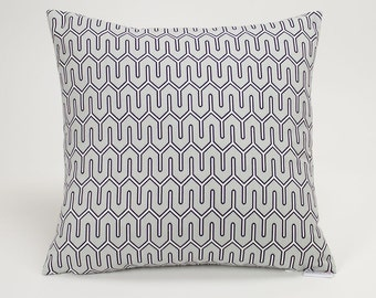 Dove Gray Maze Work Throw Pillow Cover - 16 inch