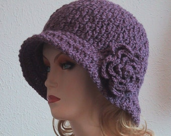 Cloche Hat with Flower in Dusty Purple - Hand Crocheted - Soft Acrylic Yarn - Handmade - Size Medium/Large - Chemo Hat - Great Gift