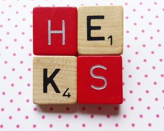 Scrabble brooch Dutch words: HEKS means witch in Dutch fun jewellery special gift - free shipping