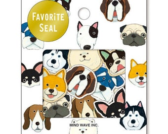 Dog Sticker Flakes Set 70 Sheets Mind wave Japan SS911