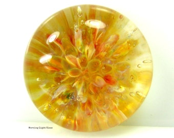 16mm Golden Orchid Boro Lampwork Glass Cabochon - Flamework Bead Implosion - Small Size Cab