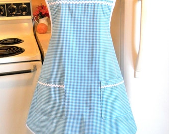 Old Fashioned Grandma Style Gingham Apron in Teal MADE TO ORDER