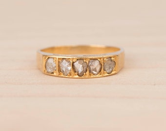 Layaway Payment #3/3 for S----------Rose Cut Diamond Five Stone Half Hoop Band 18k Yellow Gold