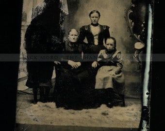 RESERVED Do Not Buy // Antique Tintype Photo Weird Family with Creepy Lurking Blacked Out Monster