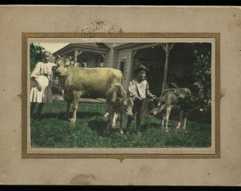 """Antique / Vintage Cabinet Photo of Children with Cows! Hand Colored 8"""" x 5"""""""