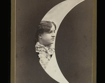 Unusual 1890s Woman in Moon Cabinet Card