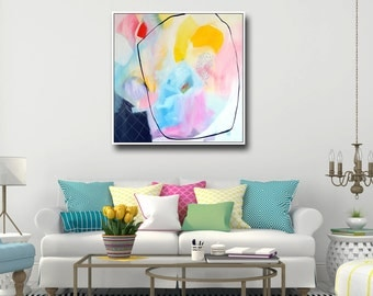 Large Abstract Print, Giclee Print, Wall Art, Canvas Print from Painting, Expressive Art, Canvas Art, Colorful Painting Print, Blue, Pink