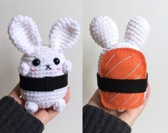 Sushi Bunny Plushie - Kawaii Salmon Nigiri Bunny - Amigurumi Bunny Plush - Sushi Gift - Crochet Bunny Rabbit Toy - Bunny Stuffie