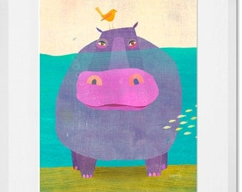 Underwater Hippo // Framed Art Print