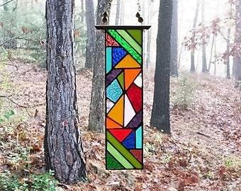 stained glass panel glass art suncatcher gift art glass home decor home and living