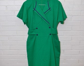 Vintage Structured Kelly Green Professional Dress