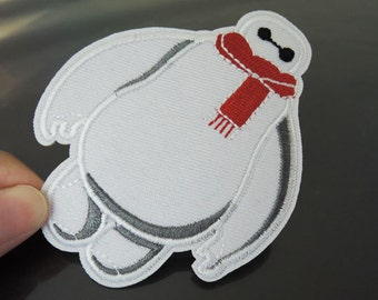 Iron On Patch - Baymax Patches Cartoon Big Hero White Grey Baymax Super patch Applique embroidered patch Sew On Patch