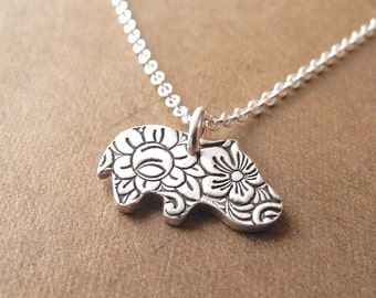 Tiny Hippo Necklace, Flowered Baby Hippo, Fine Silver, Sterling Silver Chain, Made To Order