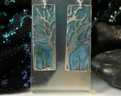 Tree of Life jewelry earrings, embossed jewelry green patina, handmade earrings, moon heart studios, nature jewelry, accessories trees
