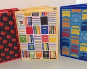 School Note Cards, Teacher Stationery, School Stationery, Teacher Cards, Lockers Books School Bus, 6 Cards and Envelopes