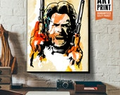 CLINT EASTWOOD Pop Art style Celebrity Movie Star Portrait, Canvas Art Print, Western decor, Cowboy Art, Geekery art, Art Print