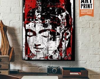 Red Buddha, Canvas Art Print, Yoga studio decor, Zen Buddha art print, Large Canvas Wall Art, Meditation decor, Zen art, Yoga studio art
