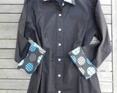 Black 3/4 sleeve w Blue White Polka Dot Shirt ; L34S12