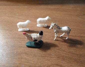 DOLLHOUSE ANIMALS / Sheep / Chicken / Horse / Barn / Stable / Pasture / Barbie / Miniatures / Shadowbox / Terrarium / Diorama / Accessories