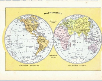Antique French World Map Print Book Page 1910s Colored Engraved illustration mappamundi