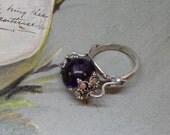Antique Chinese Sterling & Amethyst Spinning Ball Ring Size 6.5