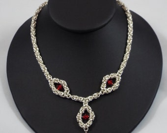 Silver-Filled Byzantine with Red Swarovski Crystals Necklace