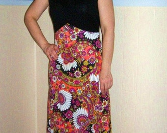 60s Psychedelic Fitted Maxi Hostess Dress SMALL