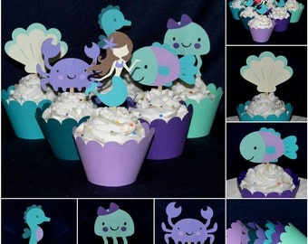 Purple and Teal Mermaid Cupcake Topper Under the Sea Little Mermaid Birthday Cake Decoration It's A Girl Mermaid Baby Shower READY TO SHIP