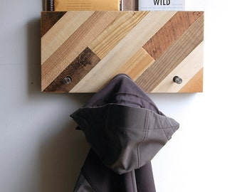 Coat Rack Reclaimed Wood  - Diagonal Pattern