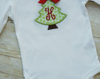 Christmas Tree Monogram Baby BODYSUIT - Red Bow - Personalized - Girl -  First Christmas