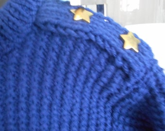 blue child sweater, hand knit sweater, boy or girl sweater