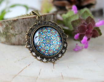 Colorful Abstract Ornament Necklace,Antique Bronze Pendant,Glass Cabochon Pendant With Chain