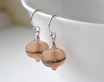 Peach Earrings, Sterling Silver, Peach Glass Earrings, Bridal Earrings, Pastel Earrings, Peach and Silver, UK Earrings