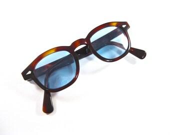 Retro horn rimmed tortoiseshell eyeglasses. Blue tinted lenses. Arnel replica style size 44-24