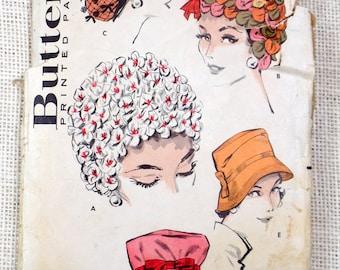 Vintage 1940s Pattern Butterick 8880 hat pattern ladies Audrey Hepburn snood Fedora 1959 Directoire bonnet