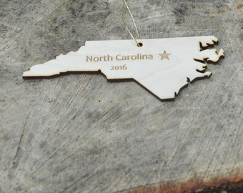 Natural Wood North Carolina State Ornament WITH 2016