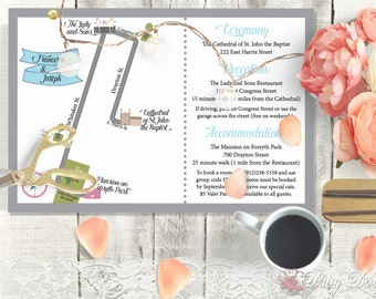 Custom Wedding Map Design - Directions and Information Printable - Printing is also available