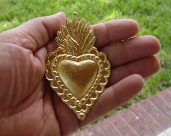 Large Sacred Flaming Heart Charm Milagro With Rope Outline  Milagros Ex voto Nicho