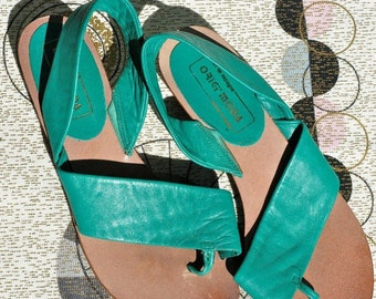 Strappy Leather Sandals, flats, low wedges, kelly green, 70s made in Brazil 7 7.5