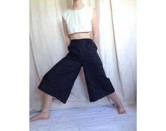 Woven black linen super wide leg pants. Black wide leg linen culottes.