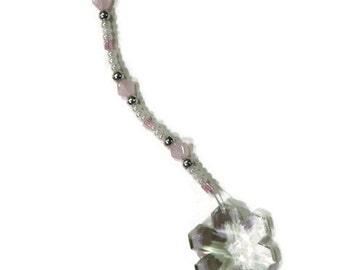 Snowflake Crystal Sun Catcher Ornament 30mm WHITE Beads Rainbows Feng Shui Pale Pink