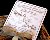 Rustic Mint Plants Wedding Fan Program **Front and Back Sides Fully Customized**